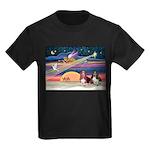 Xmas Star & 2 Bassets Kids Dark T-Shirt