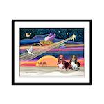 Xmas Star & 2 Bassets Framed Panel Print
