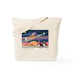 Xmas Star & 2 Bassets Tote Bag