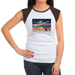 Xmas Star & 2 Bassets Women's Cap Sleeve T-Shirt