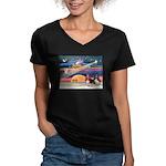 Xmas Star & 2 Bassets Women's V-Neck Dark T-Shirt