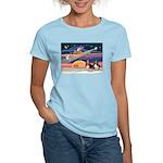 Xmas Star & 2 Bassets Women's Light T-Shirt