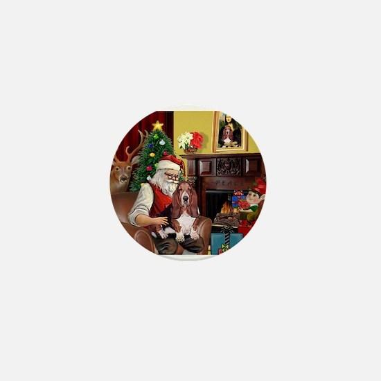 Santa's Basset Hound Mini Button