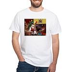 Santa's Basset Hound White T-Shirt