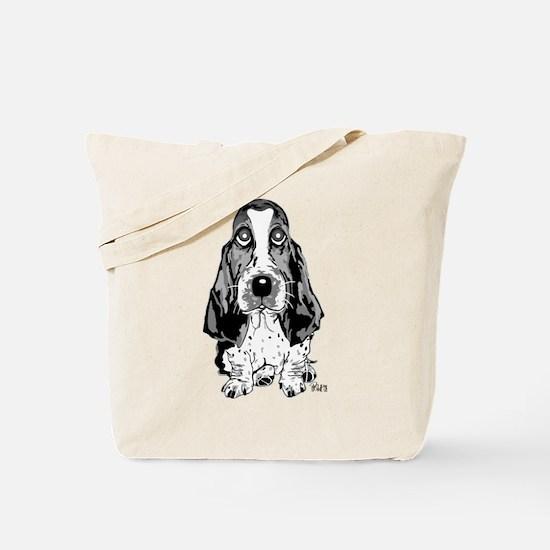 Cute Blue tick hound dog black white Tote Bag