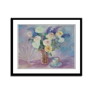 Roses Fan and Tea Cup Framed Panel Print