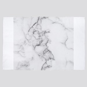 White and gray luxury marble print 4' x 6' Rug