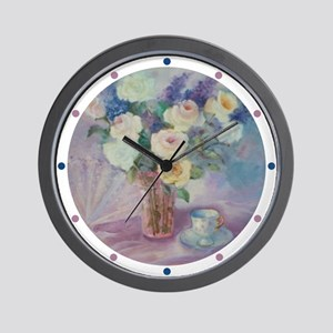 Roses Fan and Tea Cup Wall Clock