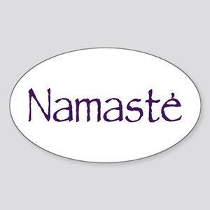 Namaste in Sacred Purple Oval Sticker