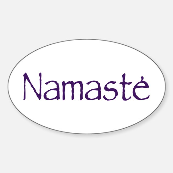 Namaste in Sacred Purple Oval Decal