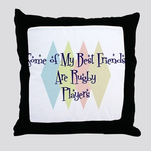 Rugby Players Friends Throw Pillow