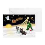 Night Flight/2 Fr Bulldogs Greeting Cards (Pk of 2