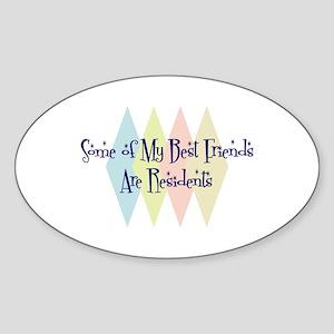Residents Friends Oval Sticker