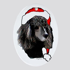 Christmas poodle Oval Ornament