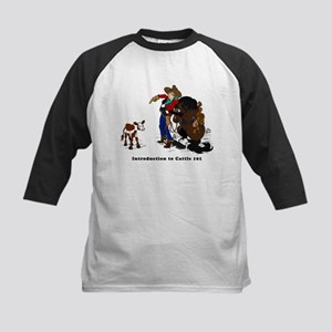 Cutting Horse Meeting Cow Kids Baseball Jersey