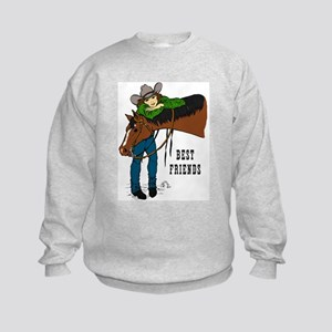 Girl and Horse - western Kids Sweatshirt