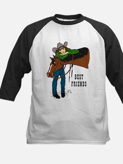 Girl and Horse - western Kids Baseball Jersey