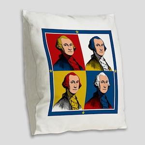 Washington Warhol Burlap Throw Pillow