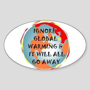 GLOBAL WARMING WARNING Oval Sticker
