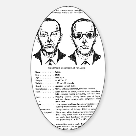 D.B. Cooper Wanted Poster Oval Decal