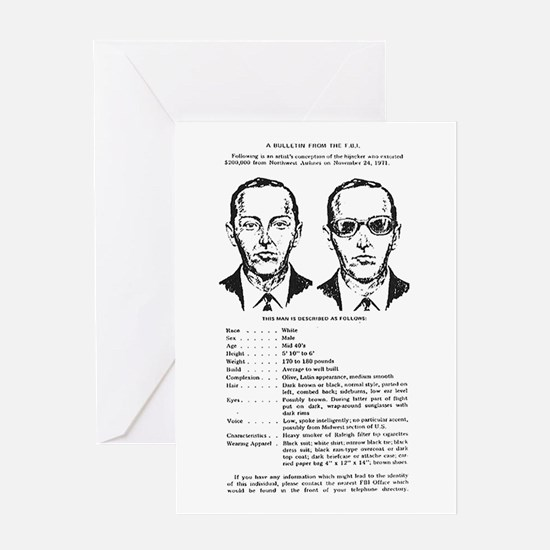 D.B. Cooper Wanted Poster Greeting Card