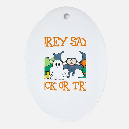 Corey Says Trick or Treat Oval Ornament