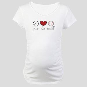 Peace Love Baseball Maternity T-Shirt
