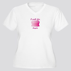 I walk for Angela Women's Plus Size V-Neck T-Shirt
