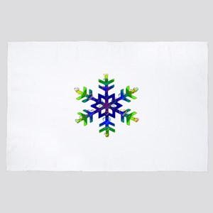 Blue and Green Bubble Snowflake 4' x 6' Rug