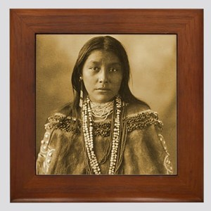 Hattie Tom Chiricahua Apache Portrait Framed Tile