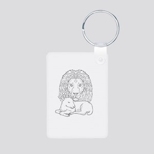 Lion Watching Over Sleeping Lamb Drawing Keychains