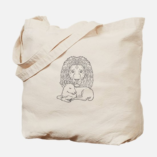 Lion Watching Over Sleeping Lamb Drawing Tote Bag