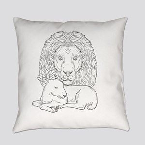 Lion Watching Over Sleeping Lamb Drawing Everyday