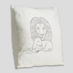 Lion Watching Over Sleeping Lamb Drawing Burlap Th