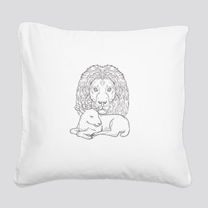 Lion Watching Over Sleeping Lamb Drawing Square Ca
