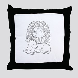 Lion Watching Over Sleeping Lamb Drawing Throw Pil
