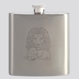 Lion Watching Over Sleeping Lamb Drawing Flask