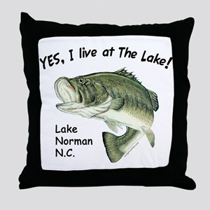 Lake Norman NC bass Throw Pillow