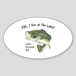 Lake Oconee GA bass Oval Sticker