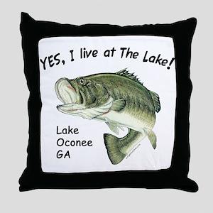 Lake Oconee GA bass Throw Pillow