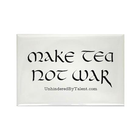 """""""Make tea not war"""" Rectangle Magnet (100 pack)"""