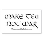"""Make tea not war"" Rectangle Sticker"