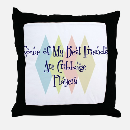 Cribbage Players Friends Throw Pillow