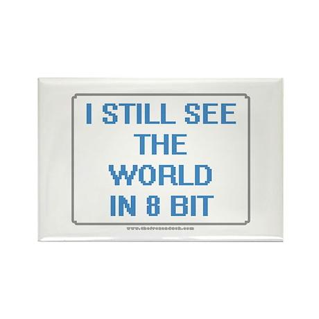 8 Bit World Rectangle Magnet (10 pack)