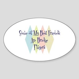 Bridge Players Friends Oval Sticker