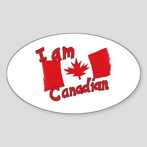 I Am Canadian Oval Sticker