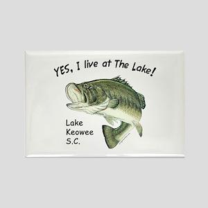 Lake Keowee SC bass Rectangle Magnet