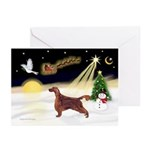 Night Flight/Irish Setter Greeting Cards(Pk of 20)