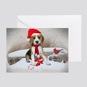 Beagle Christmas Scene Greeting Cards (Pk of 20)