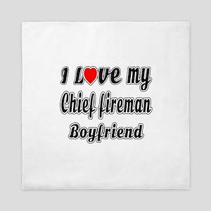 I Love My Chief fireman Boy friend Queen Duvet